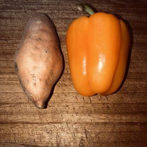 sweet potato and yellow pepper